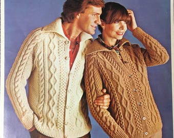 Ladies Mens Knitting Pattern, Lister-Lee Knitting Pattern, Ladies Cable Aran Cardigan, Mens Aran Cable Cardigan, 34 36 38 40 42, 44, K1253