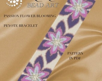 Pattern, peyote bracelet - Passion flower blooming peyote bracelet pattern in PDF - instant download