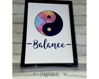 Balance print, yoga studio decor, zen calm, meditation, prayer room, yin yang print, hippie decor, enlighten aware awake, yoga art, peace
