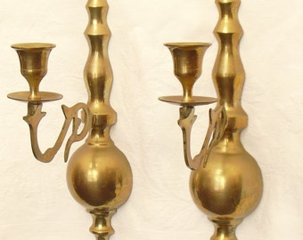 Vintage Pair of Ornate Solid Brass Wall Sconce Candle Holders, Wall Mounted Candle Holders,  Light Sconces