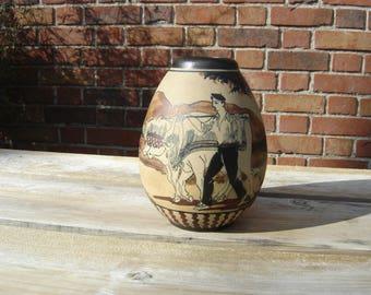 Vase grès de Ciboure. Garcia de Diego. Vintage. Pays basque. Poterie. France.
