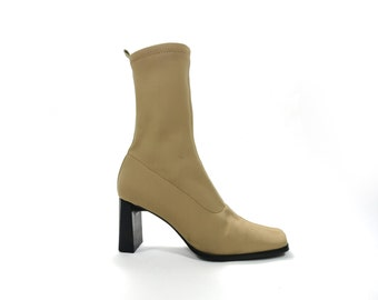 Tan Neutral Camel Neoprene Sock Boot 35.5 / 5 US Silvano Biagini