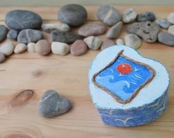Heart Wedding ring box, Ring Holder bearer box, wood jewelry box, engagement proposal ring box Beach nautical Wedding, personalized box,