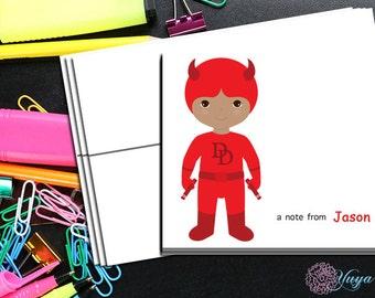 Personalized daredevil Stationery / Custom daredevil Stationery / Daredevil Thank You Card Set / Custom Boy Stationery / Set of 12