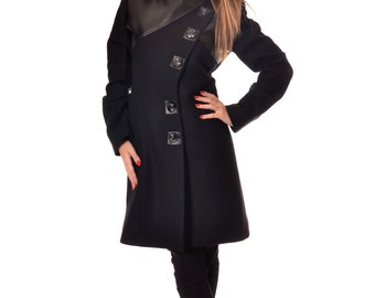 Black Wool Coat, Winter Coat Women, Womens Wool Coat, Warm Coat, Handmade Coat, Designer Coat Faux Leather, Wool Jacket, Danellys D14.07.05