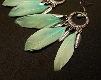 Earrings Turquoise Feathers - turquoise feather - silver charms - Moon