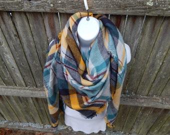 Blue / Yellow Plaid Blanket Scarf