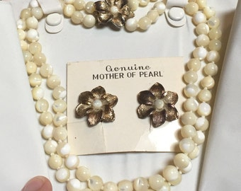 Vintage Genuine Mother of Pearl Double Strand Choker Necklace and Earrings