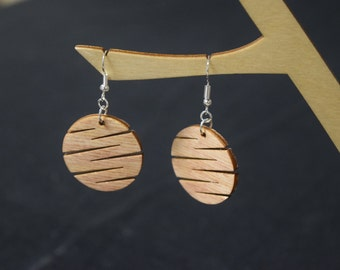 Circle Slash - Laser Cut Wood Earrings