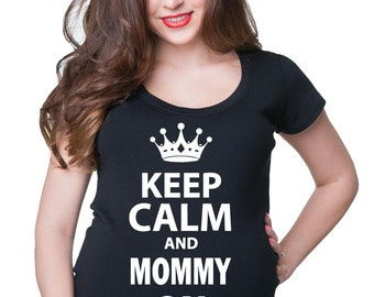 Maternity Funny T-Shirt Keep Calm Style Baby Shower Tee Shirt Maternity Clothing New Baby Apparel Pregnancy Top