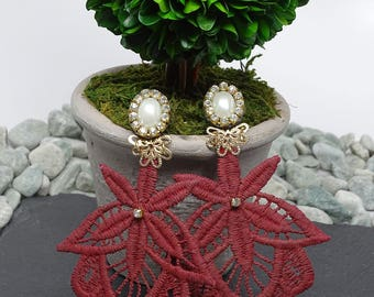 Burgundy Fashion Earrings, Chandelier Earring, Long Earring, Bohemian Fashion, Dangle Drop Earrings, Bridesmaid Earrings, Women Accessory
