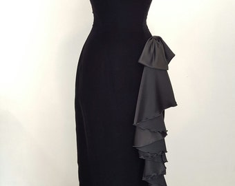 ON SALE - Vintage Mike Benet Formals Black Velvet Strapless Sweetheart Cut Designer Gown, Size 8