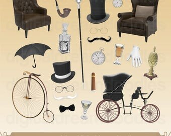 Gentlemen Clipart, Gentlemen Clip Art, Dandy Image, Manly Graphic, Cane Scrapbook, Penny Farthing Bike PNG, Old Carriage Digital Download