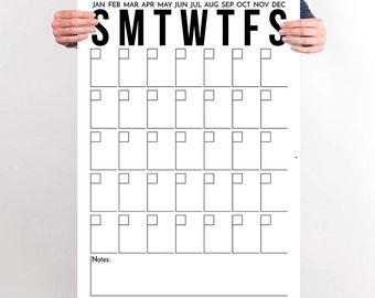 Calendar Poster Printable Large Office Calendar Black and White Monochrome Modern Office Decor Wall Art