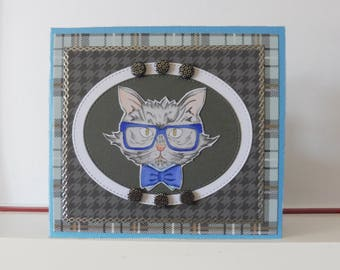 Cat card - Masculine card - Blank double greeting card - Hand colored - Main card color is turquoise blue
