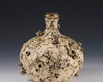 Bud flower vase, pirate vase, coastal decor, ocean vase, barnacle vase, ceramic vase, flower vase, gold vase, pottery vase, ocean decor