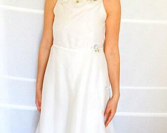 Off shoulder wedding dress prom dress short tulle dress simple wedding dress short beach wedding dress Vintage size 6- 8 Small Medium