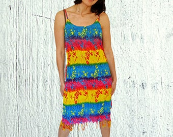 Summer rainbow tunic dress size 10 12 rainbow tunic with belt rayon summer sleeveless dress tropical exotic summer dress size M vintage 90s