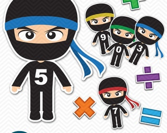 INSTANT DOWNLOAD Printable MATH Paper Doll Flash Cards - Ninja - addition, subtraction, multiplication, division