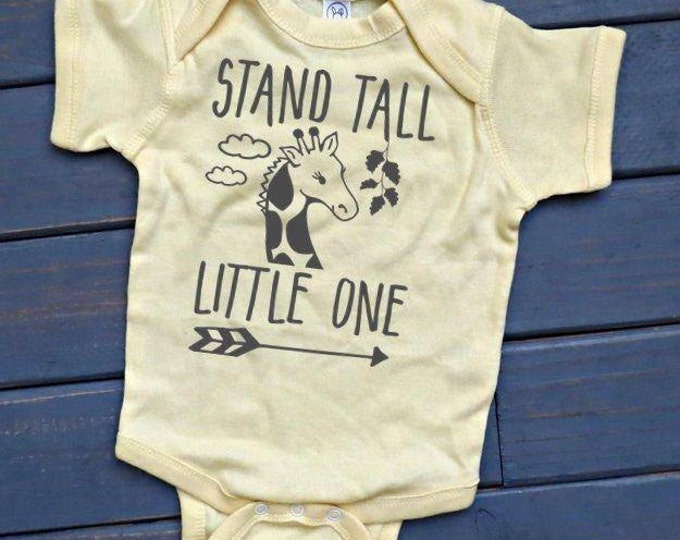 Stand Tall Little One Bodysuit, Giraffe Shirt, Unisex Kids' Clothing, Baby Giraffe Tee, Baby Shower Gift, Gift For Kids, Zoo Shirt