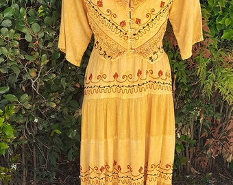 Vintage Boho Chic Dress, 90s Grunge, Attached Vest, Embroidered Maxi, Mustard Yellow, Golden Yellow, Free Size