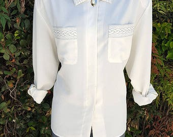 Vintage Button Up Blouse, SK & Company, Ivory Embroidered Blouse, 90's Top, Office Wear, Size 14