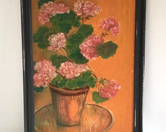 Original still life floral oil painting on board with black painted frame.