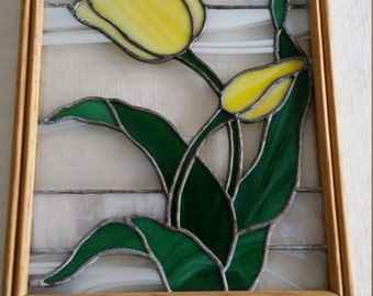vintage wooden framed stained art glass tulip flower w/ green leaves and milk swirl - suncatcher wall hanging floral wood picture yellow