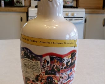 rare germany altenmunster beer / ale stein painted glass bottle decanter - limited edition tribute wwii ww2 militaria army marine german art