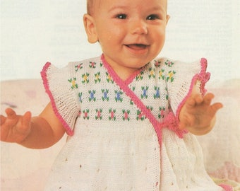 Baby Girl Crossover Dress PDF Knitting Pattern : Girls 16, 18 and 19 inch chest . 4 ply . Instant Download