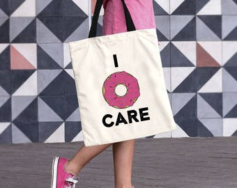 Cotton Canvas Tote Bag, Shopping Bag, Donut Tote Bag