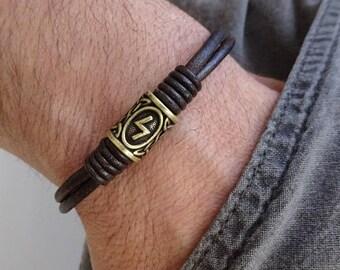 Rune Bracelet, Viking Bracelet, Viking Rune Leather bracelet, Futhark Pagan Elder bracelet, Thor's Hammer Bracelet, Viking Jewelry, Mjolnir