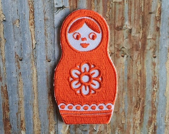 Orange babooshka Stack Doll Russian Embroidered Iron On Or Sew On Patch