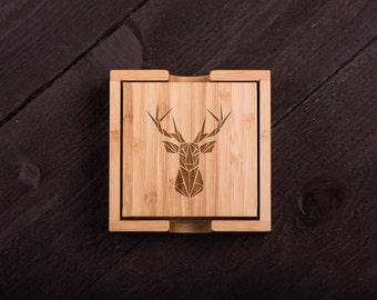 Deer Head Wooden Coasters, Custom Bamboo Coasters,  Wood Coasters, Wedding gift, Shower, Corporate Gift Kitchen Decor #5095