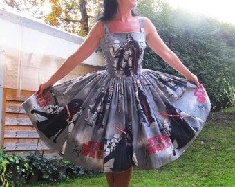 Pinup dress 'Daisy dress in Star Wars ', READY to ship, PLUS SIZE available, Kylo Ren, troopers, space ship rockabilly dress, gathered skirt