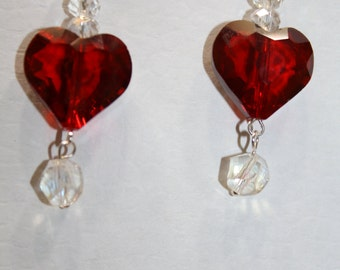 Heart Earrings Thick Cut Glass Red Heart Handmade Dangle Crystal Accents