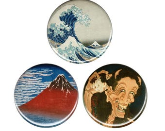 Hokusai Retro Art Button Badge Pin Great Wave Kanagawa Mount Fuji Fine Wind Clear Morning Laughing Demon