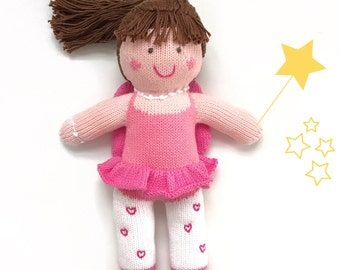 Plush toy doll Fay the Fairy girl, handmade knitted stuffed