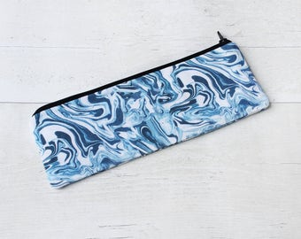 Blue Paint Swirl Marble Pencil Case - Handmade Stationery - Zipper Pouch - Marble Purse
