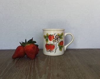 Vintage Strawberry Mug, Tea Cup, Coffee Mug, Strawberry, Shabby Chic, Cottage Decor, Cottage, Wild Strawberry, Strawberries on the Vine,