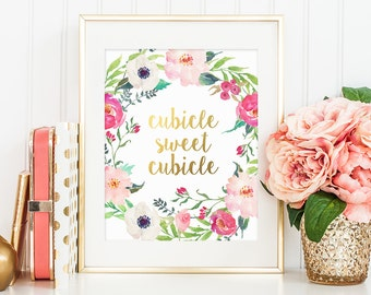 Gold Letter Print, Сubicle Sweet Cubicle, Office Wall Decor, Inspirational Quote, Office Print, Gold Floral Decor, Work Motivational Print