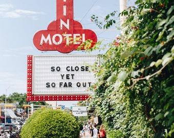 Austin, Texas, Austin Motel, Summer Print, South Congress, Photograph, Fine Art, Wall Art, Colorful, So Close Yet So Far Out, Greenery, Pink