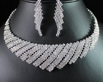 Elegant Clear Austrian Rhinestone Crystal Necklace Earrings Set - Bridal Crystal Stud Earrings Necklace Set Bridesmaids Gift Wedding Jewelry