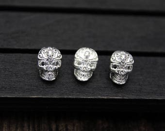 Sterling Silver Skull Beads, Skull head,Silver Skull spacer bead,3D skull, 4mm large hole skull bead