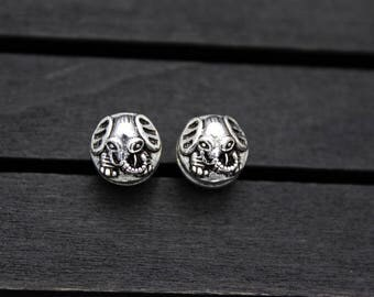 10mm Sterling Silver Elephant Beads, Ganesha Beads, Ganesh Spacer Beads, Garnesh, Lord Ganesha, Elephant God