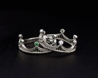 Crown wedding rings set, His and Hers crown rings, Crown wedding bands, Unique wedding bands, Silver wedding bands set, Silver crown rings