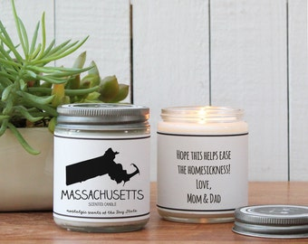 Massachusetts Scented Candle - Homesick Gift   Miss Home Gift   State Scented Candle   Moving Gift   College Student Gift   State Candles