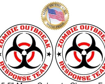 Set of 2 Zombie Outbreak Response Team Vinyl Decals