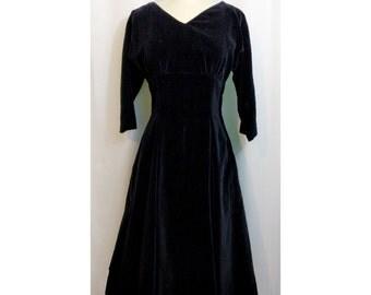 Jonathan Logan Black Velvet 50s Dress