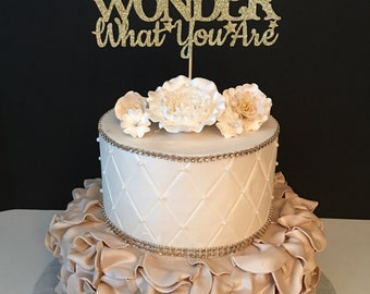How We Wonder What You Are Cake Topper, Baby Sprinkle Cake Topper, Baby Shower Cake Topper, Gender Reveal Cake Topper, ANY COLOR